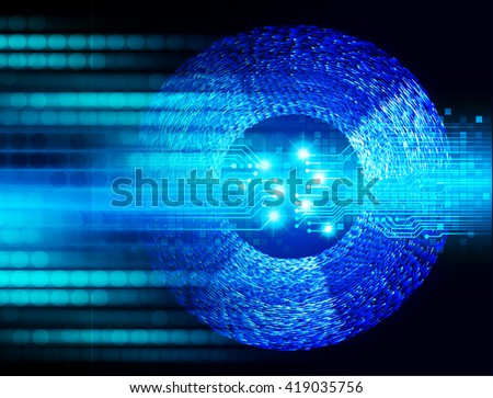 Blue abstract hi speed internet technology background illustration. eye scan virus computer. motion move.Spark