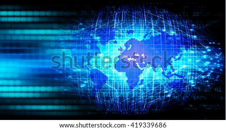 Blue abstract hi speed internet technology background illustration. eye scan virus computer. motion move. Spark, world map