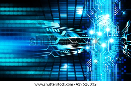 Blue abstract hi speed internet technology background illustration. eye scan virus computer. motion move. Spark - stock photo