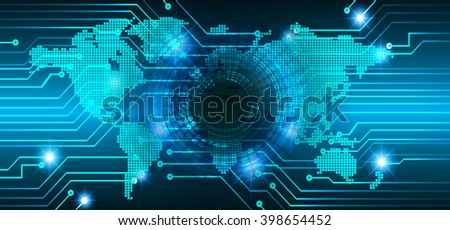 Blue abstract hi speed internet technology background illustration. world