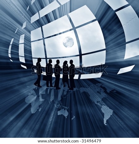Blue abstract illustration with business people from the windows and globe - stock photo