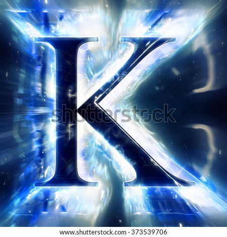 Blue Abstract Letter K - stock photo