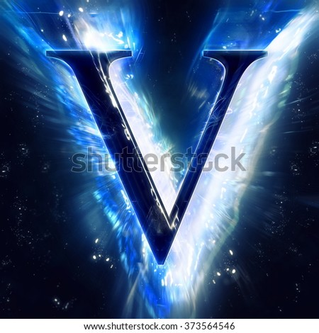 Blue Abstract Letter V - stock photo