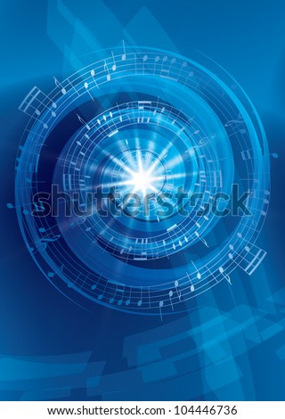 blue abstract music background - vector flyer - stock photo