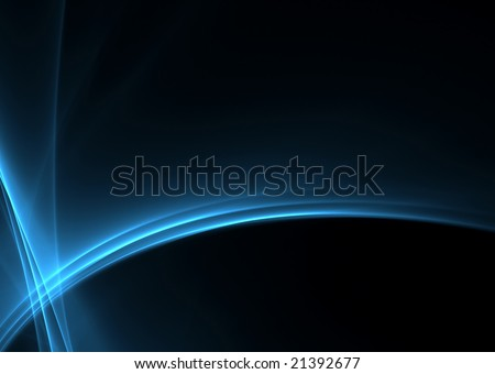 Blue abstract rays on black background: beautiful 3D rendered fractal. - stock photo