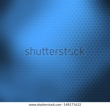 Blue abstract scientific background with graphene molecular structure - stock photo