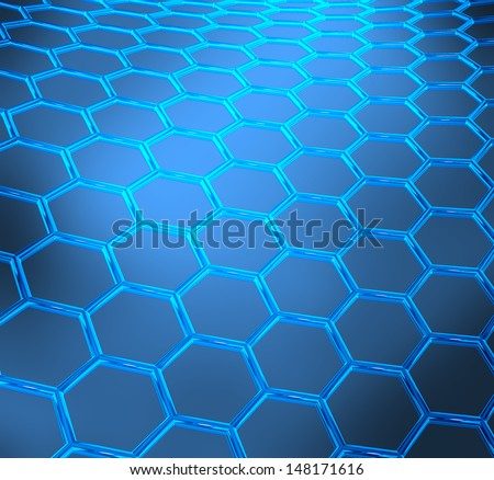 Blue abstract technical or scientific  shiny background with graphene molecular structure - stock photo