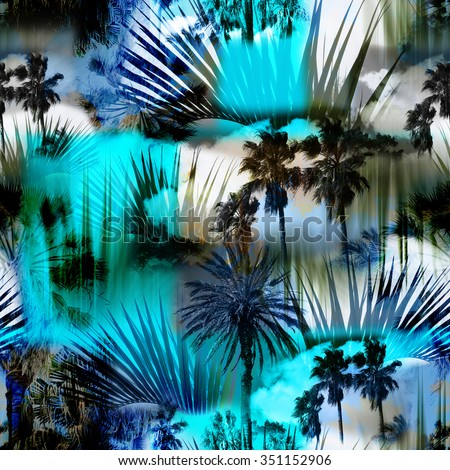 Blue Abstract tropical pattern seamless with palm leaves on a tropical background. Palm trees on a colorful blue backdrop. Photo collage clip-art with slow focus and layers effect. - stock photo