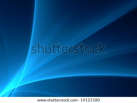Blue abstract waves on a black background-3D rendered fractal. - stock photo