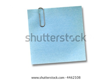 Blue adhesive note isolated on white - stock photo