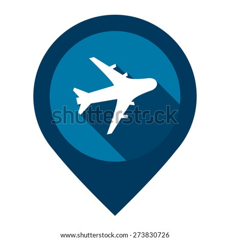 Blue Aeroplane, Airplane, Airport, Landing Field, or Logistic Map Pointer Icon Isolated on White Background  - stock photo