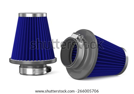 blue air filter for car isolated on white background - stock photo