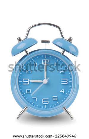 Blue alarm clock with the hands at 9 am or pm isolated on a white background, One of a set of 12 images showing the top of the hour starting with 1 am / pm and going through all 12 hours - stock photo