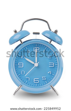 Blue alarm clock with the hands at 10 am or pm isolated on a white background, One of a set of 12 images showing the top of the hour starting with 1 am / pm and going through all 12 hours - stock photo