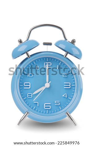 Blue alarm clock with the hands at 8 am or pm isolated on a white background, One of a set of 12 images showing the top of the hour starting with 1 am / pm and going through all 12 hours - stock photo