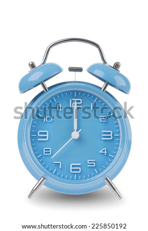 Blue alarm clock with the hands at 12 am or pm midnight or noon isolated on a white background, One of a set of 12 images showing the top of the hour starting with 1 am / pm and all 12 hours - stock photo