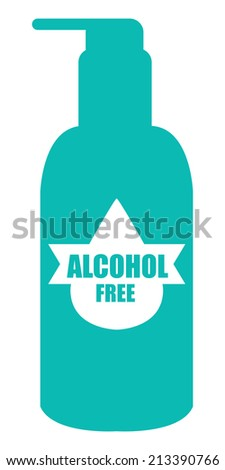 Blue Alcohol Free Icon, Label or Cosmetic Container Isolated on White Background  - stock photo