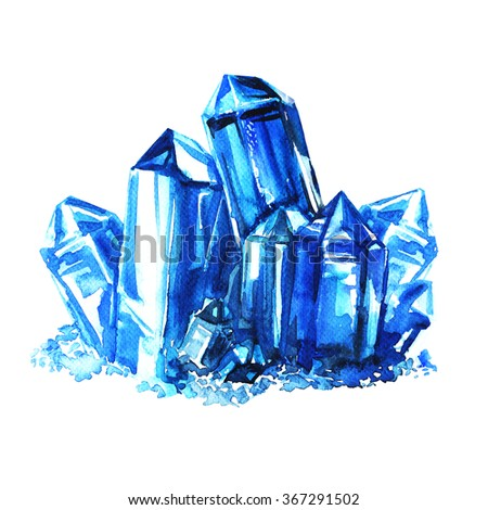 Blue amethyst crystals stones isolated - stock photo
