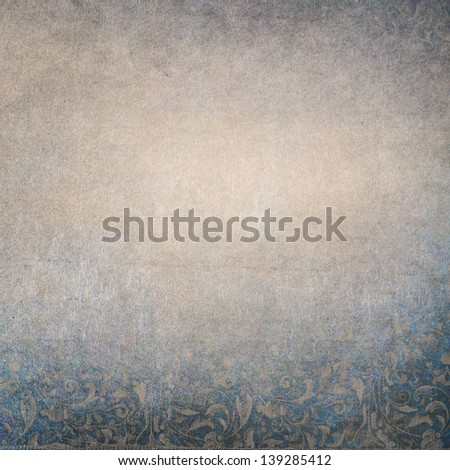 Blue and beige paper background with small floral print. Central faded area for copy space. - stock photo