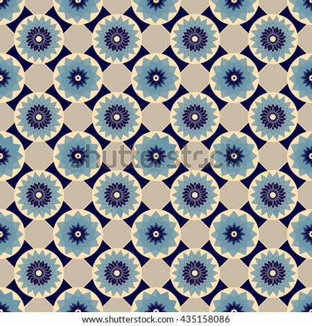 Blue and beige seamless abstract floral vintage texture - stock photo