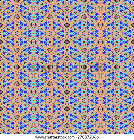blue and brown Decorative seamless pattern in ethnic geometric style - stock photo