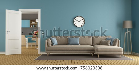 Blue And Brown Living Room With Open Door And Modern Kitchen On Background    3d Rendering
