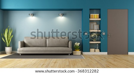 Blue and brown modern livingroom with sofa, niche and closed door - 3D Rendering - stock photo