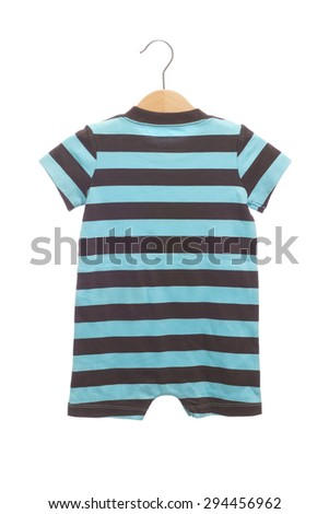 Blue and brown stripe pattern baby clothes bodysuit back view in clothes hanger, isolated on white background. - stock photo