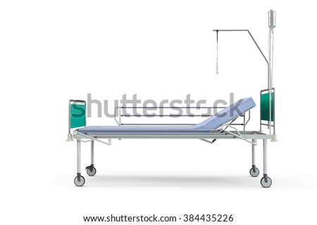 Blue and chrome mobile hospital bed with recliner, 3d illustration, isolated against a white background - stock photo
