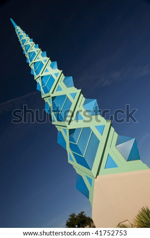 Blue and cyan spire of the Frank Lloyd  Wright Public Memorial in Scottsdale  Arizona. - stock photo