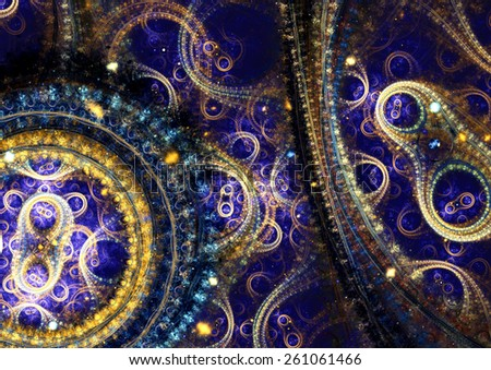 Blue  and gold abstract mechanical fractal - stock photo