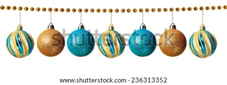 Blue and gold Christmas balls isolated on white background    - stock photo