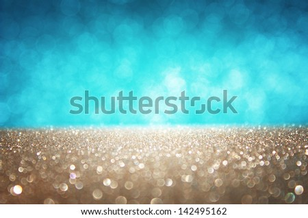 blue and gold defocused lights background. abstract bokeh lights - stock photo