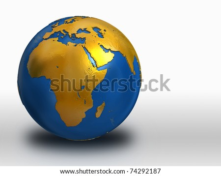 Blue and Gold Earth - Africa, Middle East, Europe - stock photo