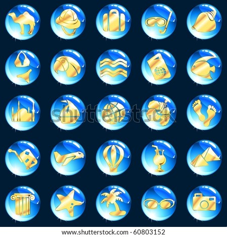 Blue and gold exotic vacation icons (jpg); Eps10 version also available - stock photo
