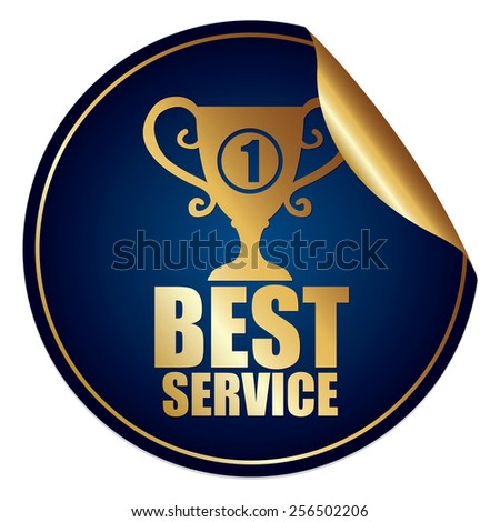 Blue and Gold Metallic Best Service Sticker, Icon or Label Isolated on White Background  - stock photo
