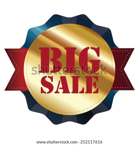 blue and gold metallic big sale sticker, badge, icon, label isolated on white - stock photo