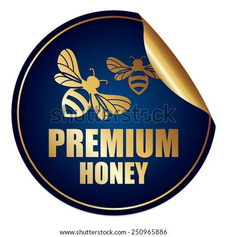 Blue and Gold Metallic Premium Honey Sticker, Icon or Label Isolated on White Background  - stock photo