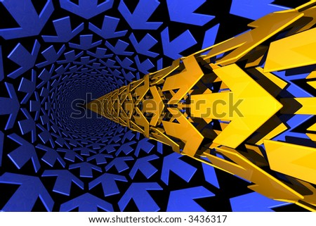 blue and golden arrows forming pipelines - stock photo