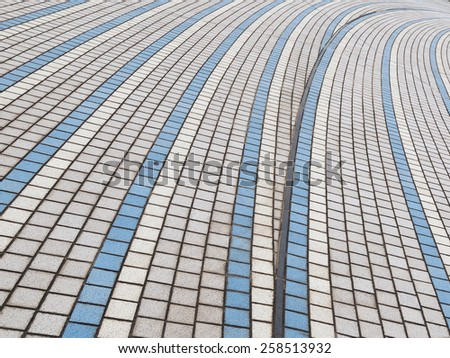 Blue and gray abstraction of ceramic tiles with geometric pattern - stock photo