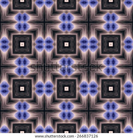 blue and gray Decorative seamless pattern in ethnic geometric style - stock photo