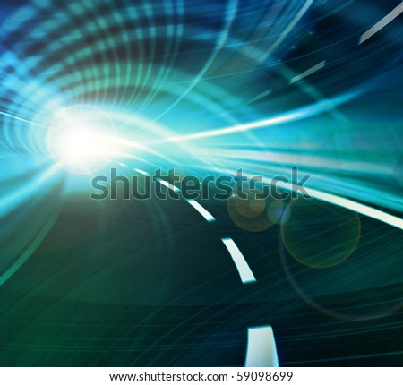Blue and green abstract illustration of a speed motion in a tunnel  or an urban highway road - stock photo