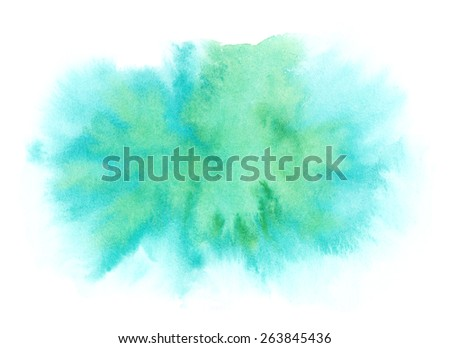 Blue and green color splash watercolor background - stock photo