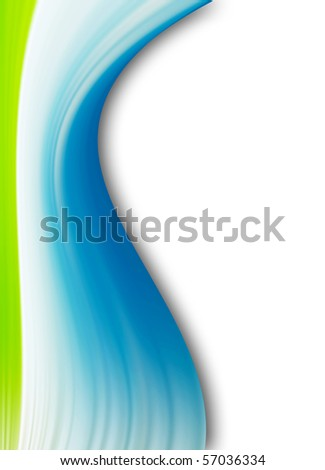 Blue and green dynamic wave over white background. Illustration - stock photo