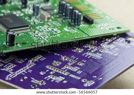 Blue and Green electronic circuit close-up (Audio card) - stock photo