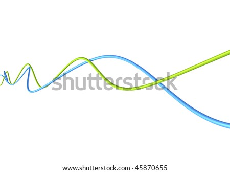 blue and green fibre optic cables - stock photo