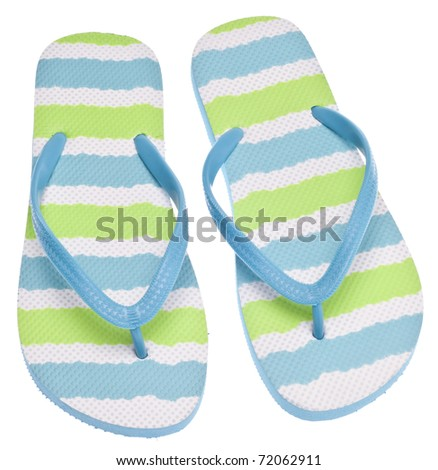 Blue and Green Flip Flop Sandals on White. - stock photo