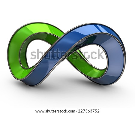 Blue and green infinity symbol - stock photo