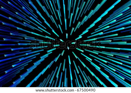 Blue and green points of light abstract - stock photo