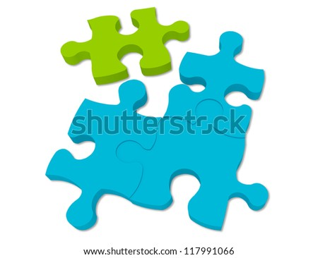 Blue and Green Puzzle Pieces
